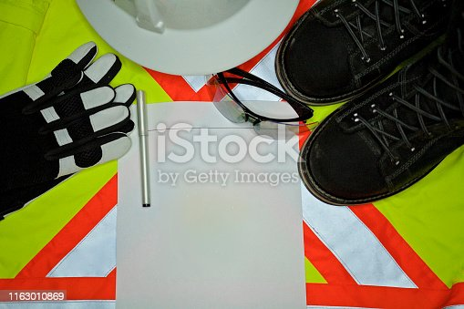 Safety Personal Protection Equipment including hardhat, gloves, protective glasses
