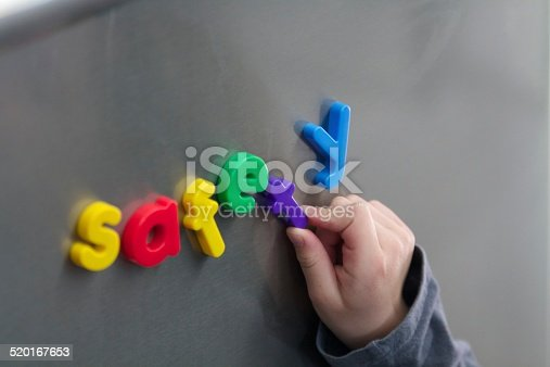 Magnetic letters spelling safety on stainless steel,