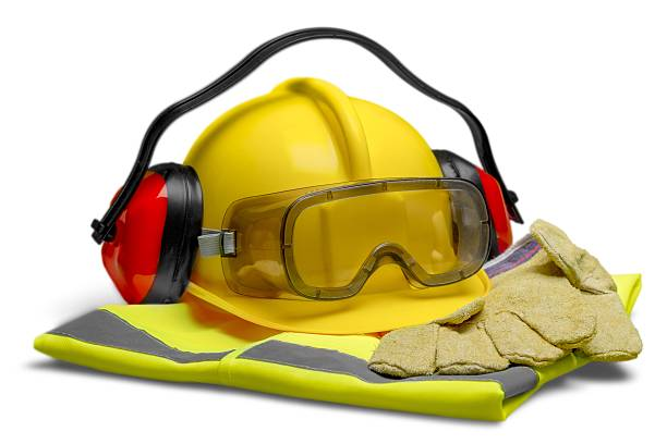 Safety Safety Equipment - Helmet, Goggles, Ear Protection, Vest and Gloves reflective clothing stock pictures, royalty-free photos & images