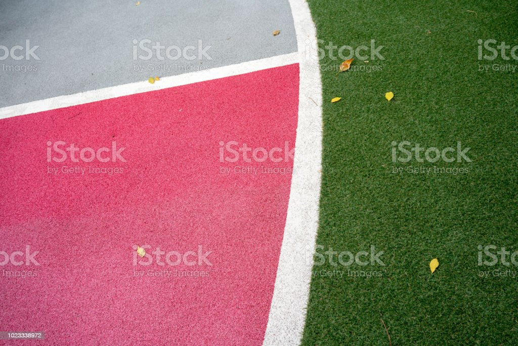 Safety playground and sports floor with soft rubber crumb for...
