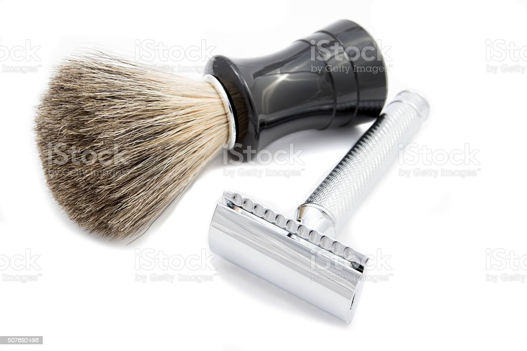 safety razor and shaving brush stock photo