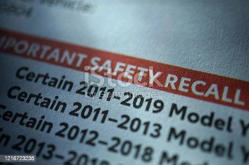 close up shot of safety recall