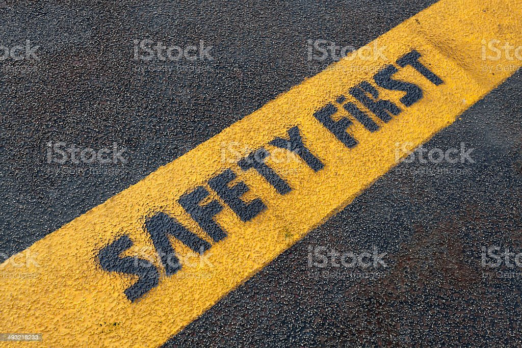 Safety sign on road stock photo