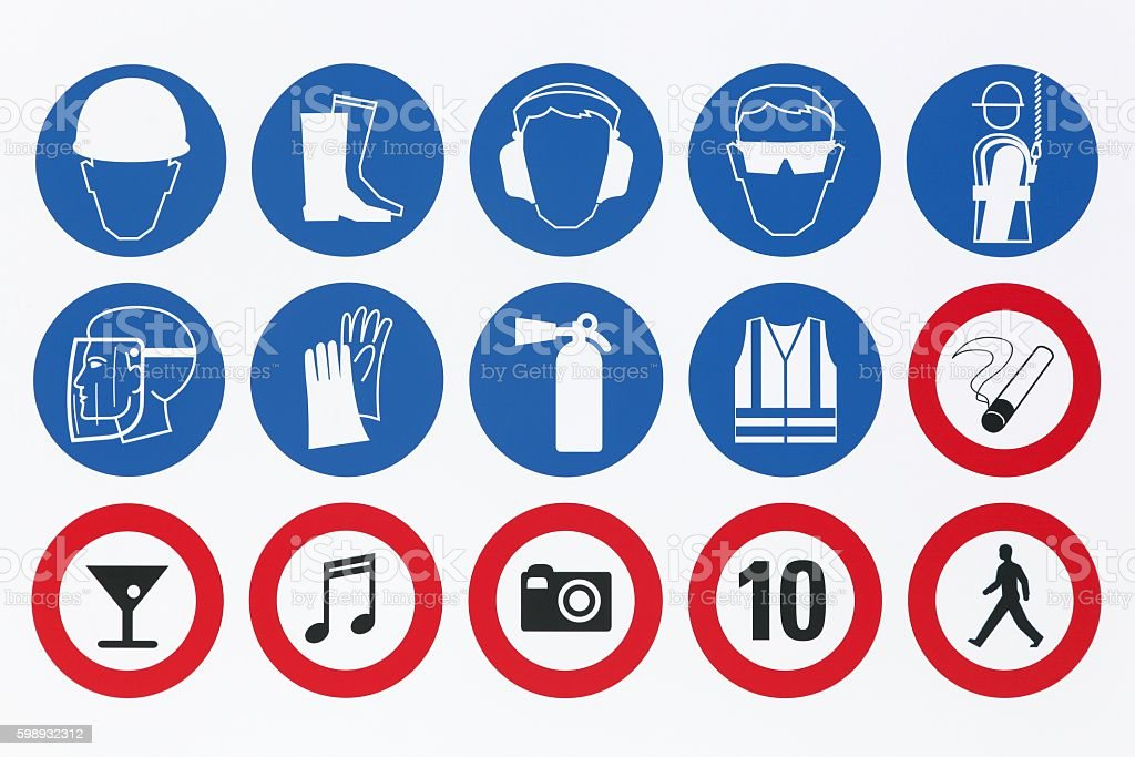 Safety signs on a signboard stock photo