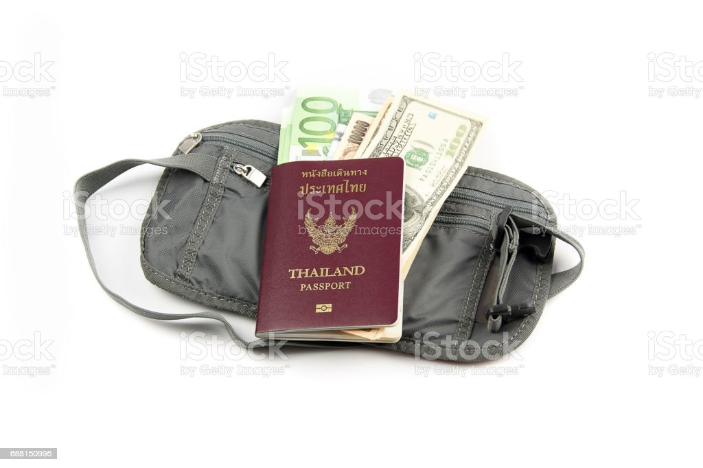 safety waist pouch for traveler with different money and passport stock photo