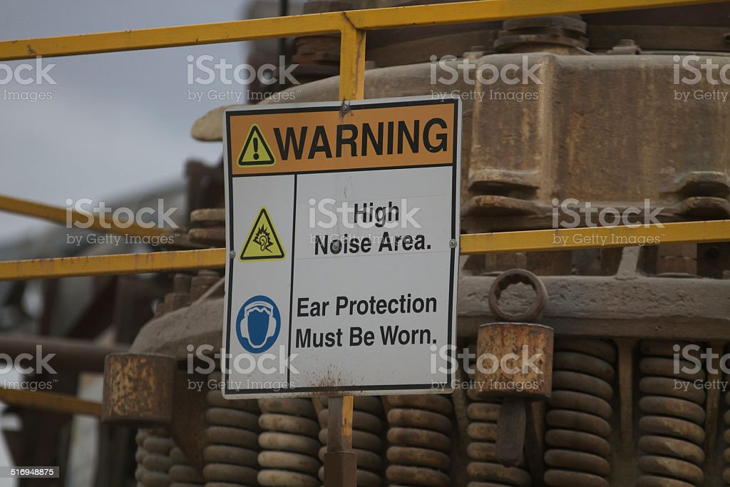 Safety Warning sign for high noise area with mandatory ear protection