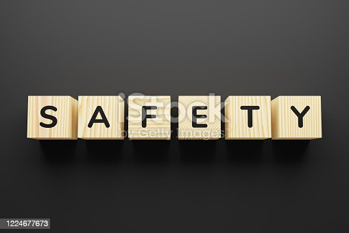 957759714 istock photo Safety - word on wooden cubes, top view. 1224677673