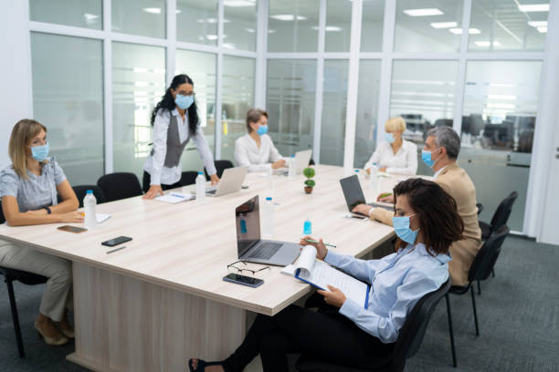 Safety work atmosphere in time of COVID-19 epidemic stock photo