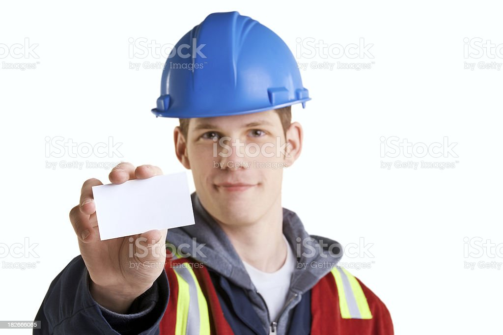Safety worker holding blank business card on white royalty-free stock photo