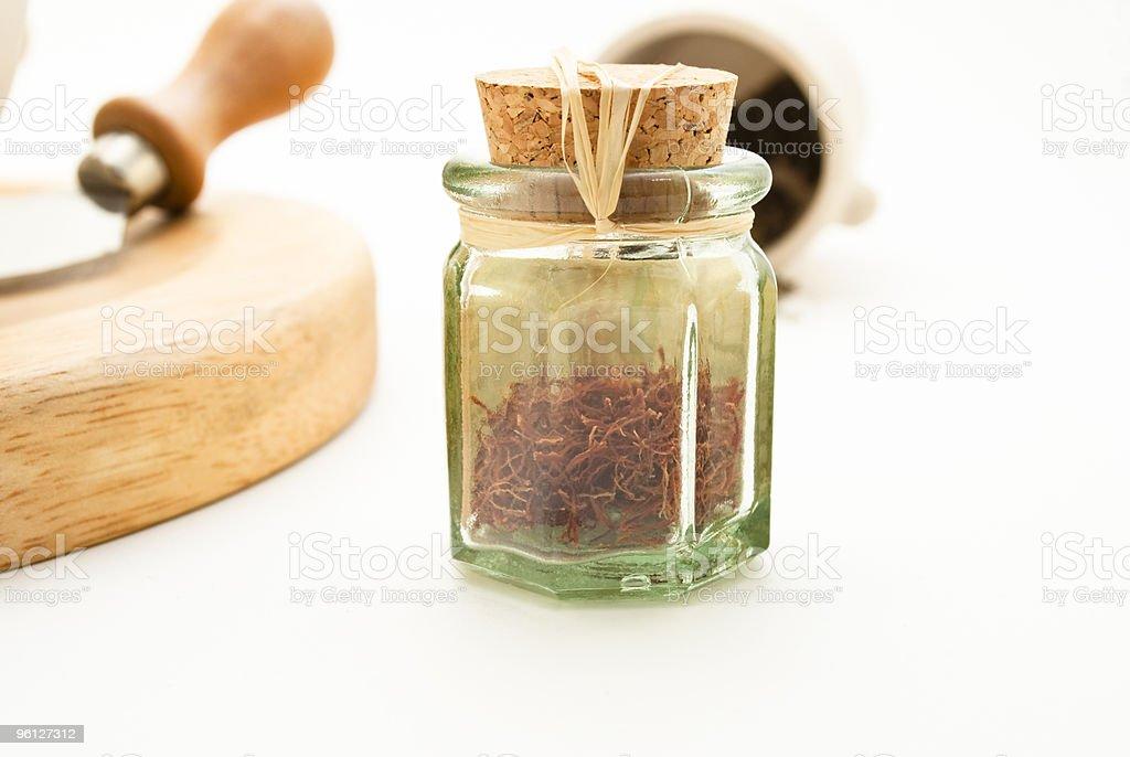 Saffron in Glass Pot royalty-free stock photo