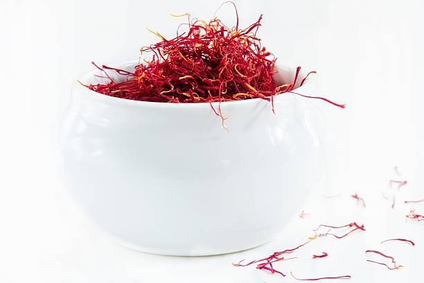 saffron isolatated on white, selective focus - saffron on white bildbanksfoton och bilder