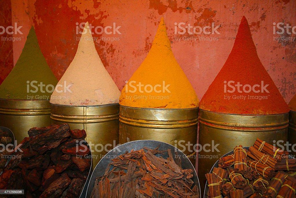 Saffron, turmeric, curry, pepper, cumin, cinnamon stock photo