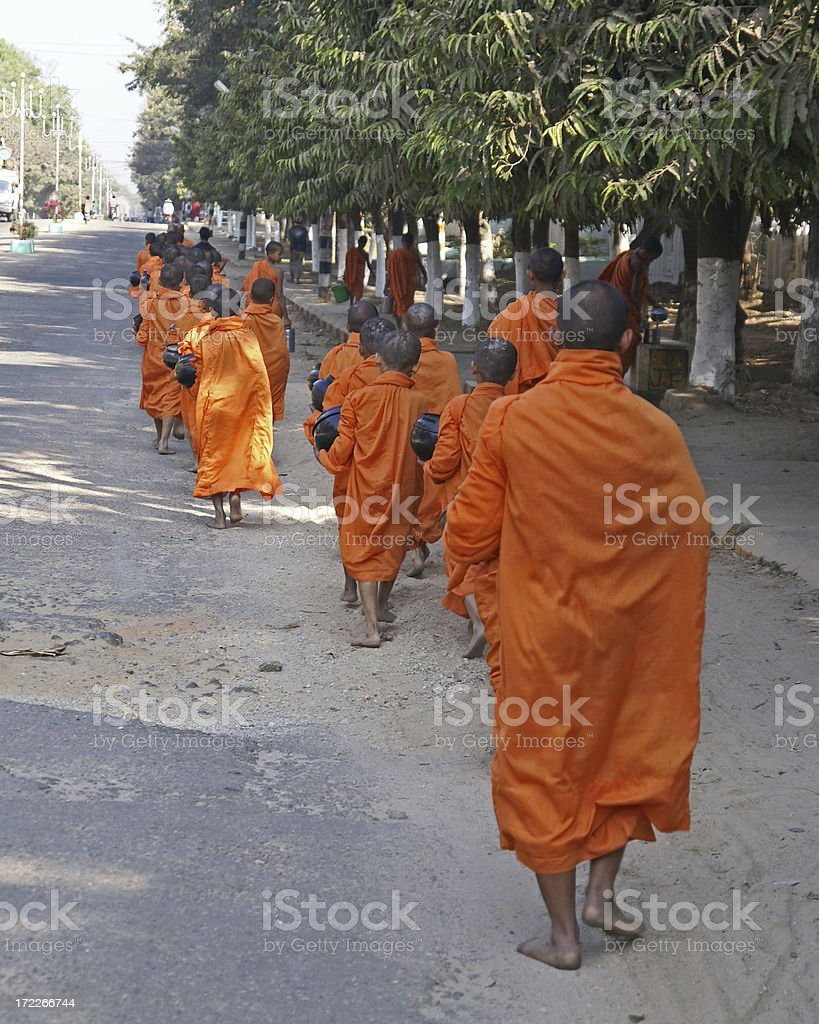 Safron Robed Monks in Burma royalty-free stock photo