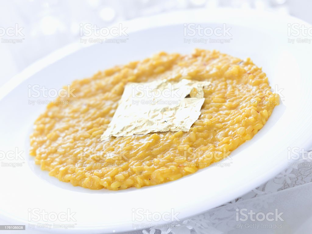 Safrron Risotto with Gold Leaf Square stock photo
