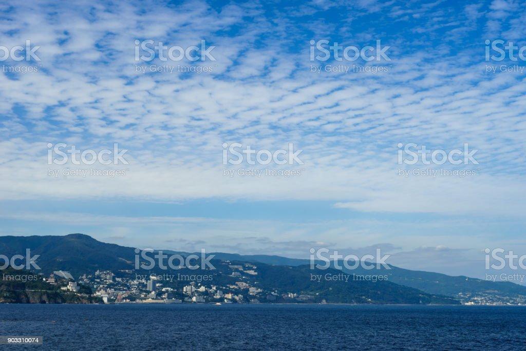 Sagami Bay and autumn cloud stock photo