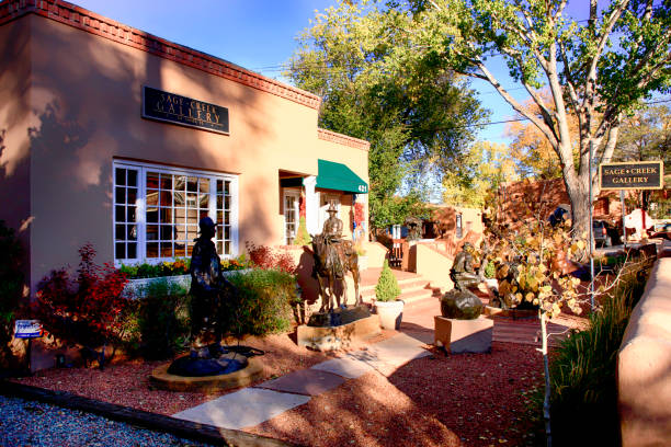 Sage Creek Southwestern art gallery on Canyon Road, the arts district of Santa Fe in New Mexico USA stock photo