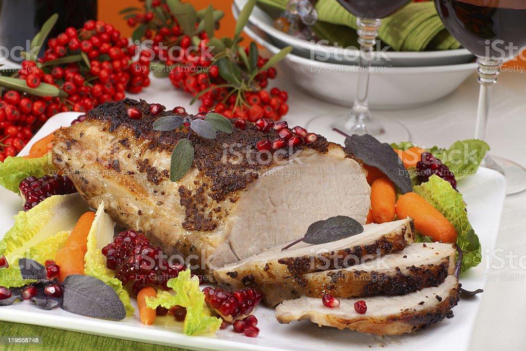 Sage Mustard Roast Tenderloin Pork royalty-free stock photo