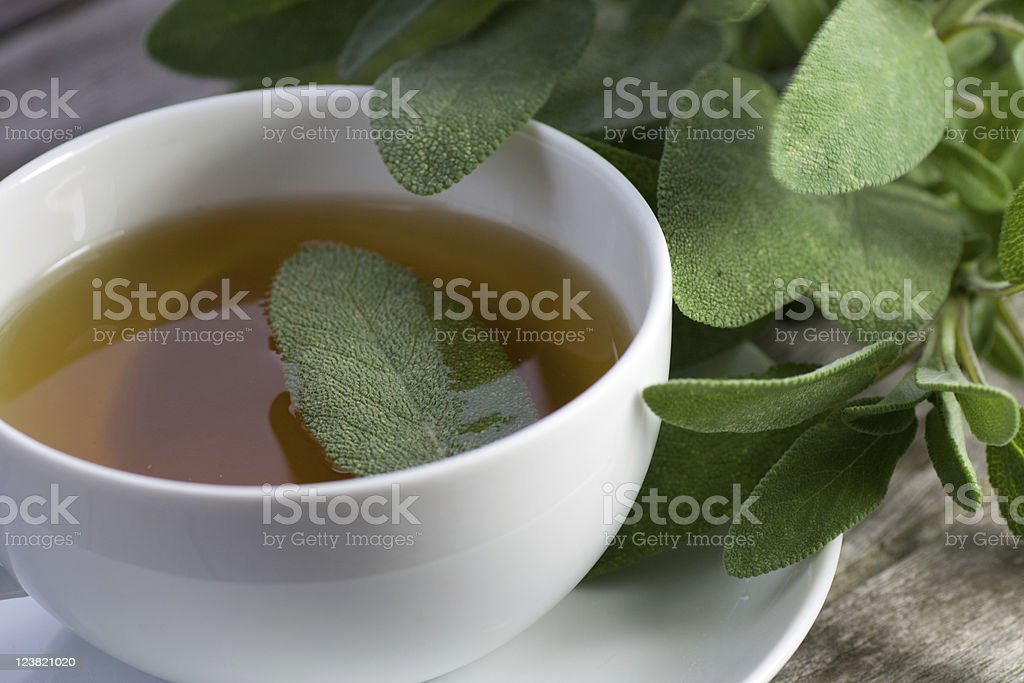 Sage tea with actual leaf in the liquid stock photo