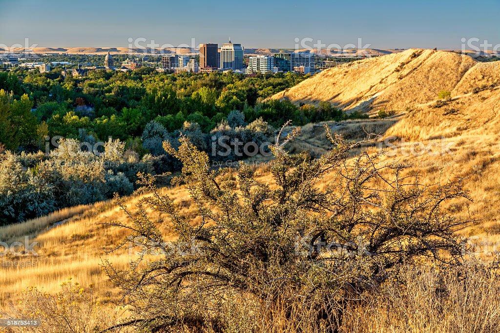 Sagebrush and city of Boise Idaho stock photo