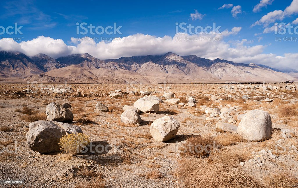 Sagebrush Boulders Owens Valley Sierra Nevada Range California stock photo