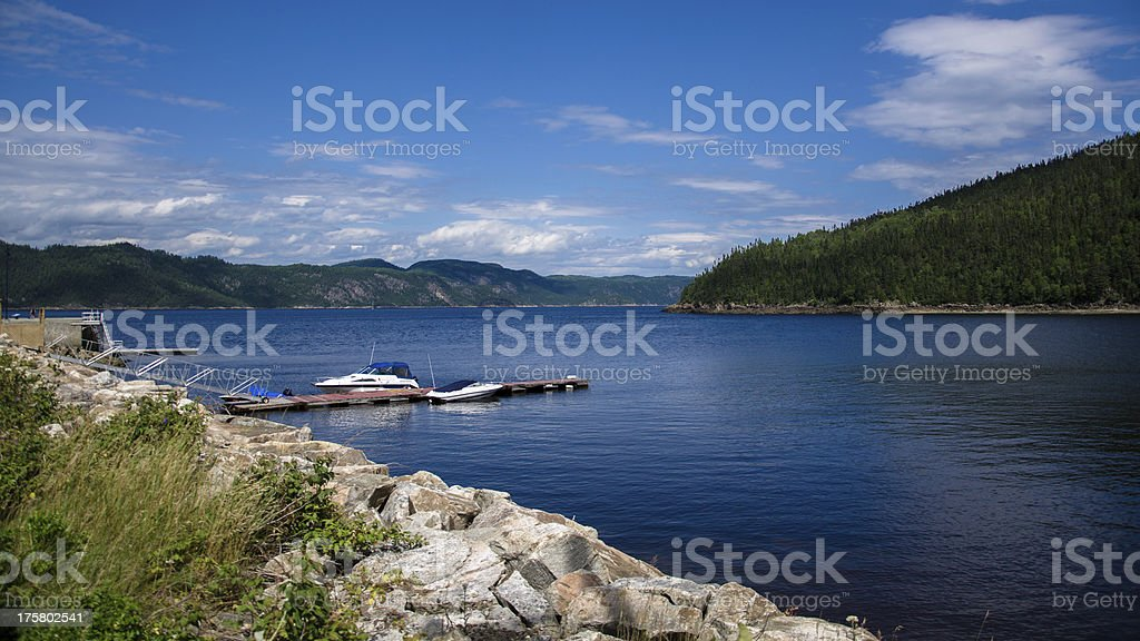 Sagenay Fjord, Quebec, Canada, River, Lake, Forest, Dramatic Sky royalty-free stock photo