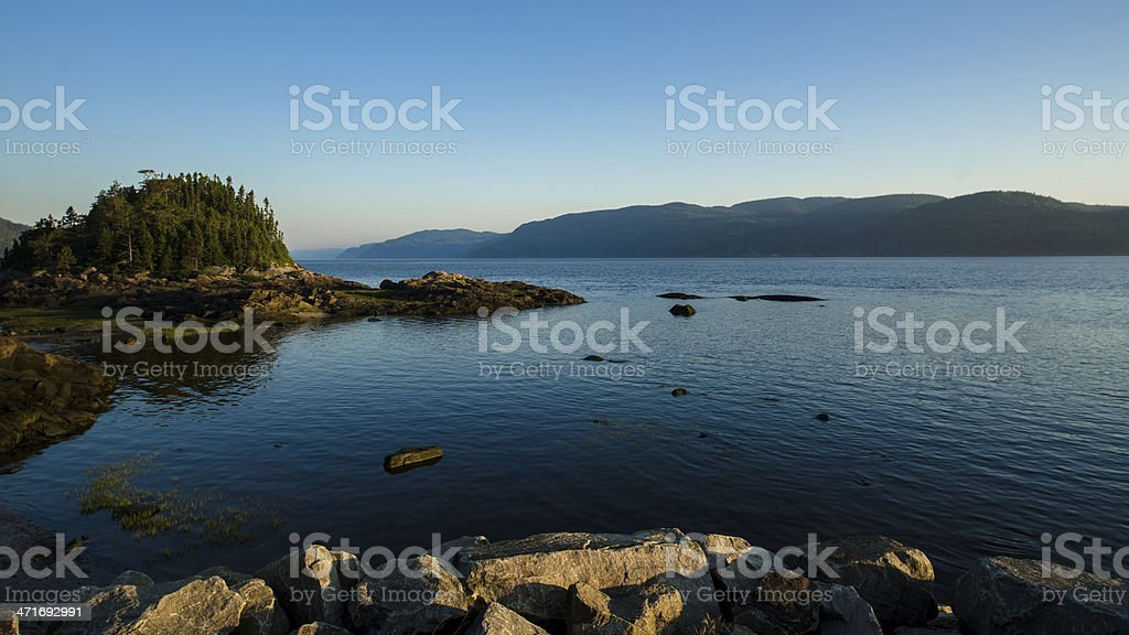Sagenay Fjord, Quebec, Canada, River, Lake, Forest, Dramatic Sky stock photo
