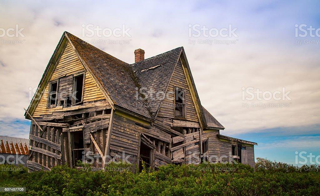 sagging abandon house stock photo