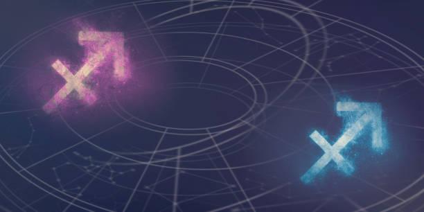 sagitario y sagitario horóscopo signos compatibilidad. fondo abstracto del cielo nocturno. - cosas que van juntas fotografías e imágenes de stock