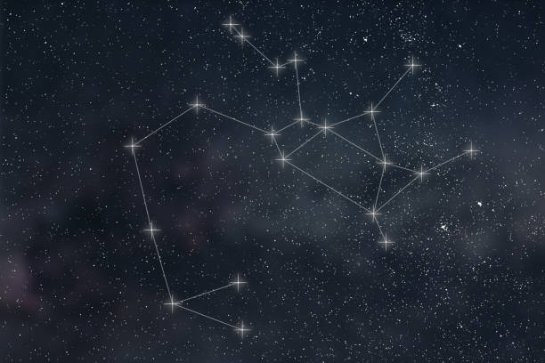 Sagittarius Constellation. Zodiac Sign Sagittarius constellation lines stock photo