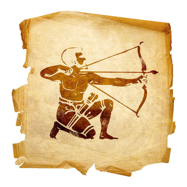 Schütze zodiac alt, isoliert auf weißem Hintergrund. – Foto