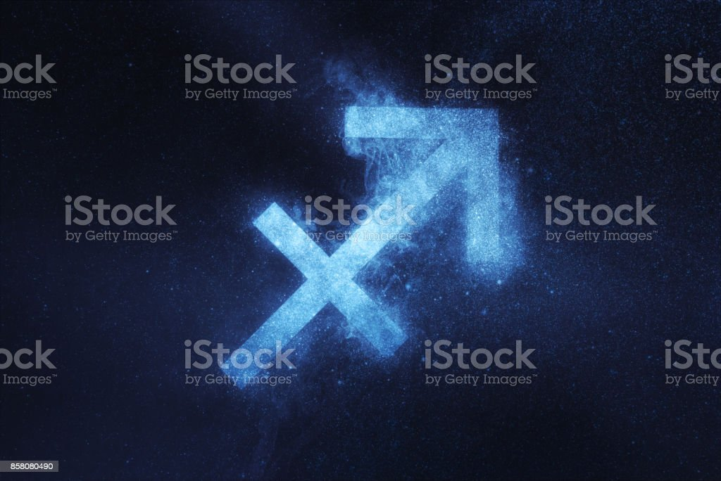 Sternzeichen Schütze. Abstrakte Nacht Himmelshintergrund – Foto