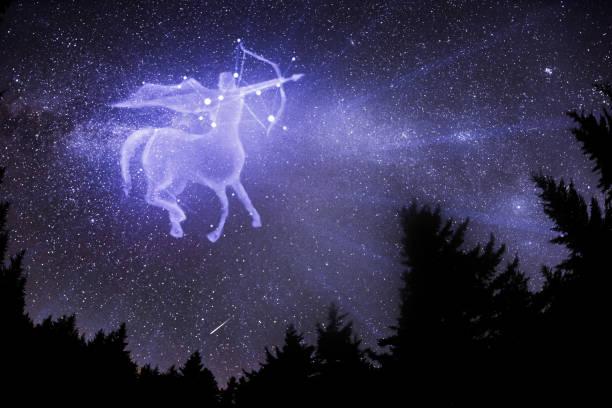 Sagittarius zodiac sign. Archer centaur shoots a bow, horoscope astrology icon, Greek mythology. Elements of this image furnished by NASA. stock photo