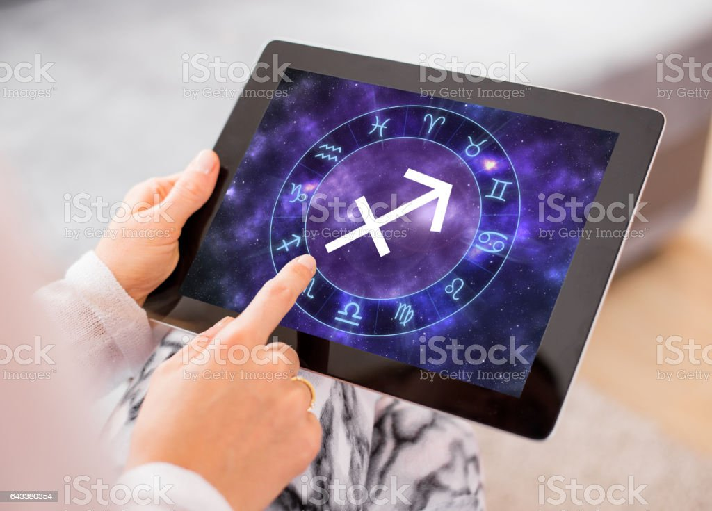 Sagittarius zodiac sign stock photo