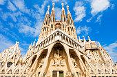 BARCELONA, SPAIN - OCTOBER 03, 2017: Sagrada Familia is a catholic church in Barcelona, designed by Catalan architect Antoni Gaudi