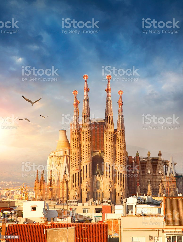 Sagrada Familia Cathedral in Barcelona stock photo