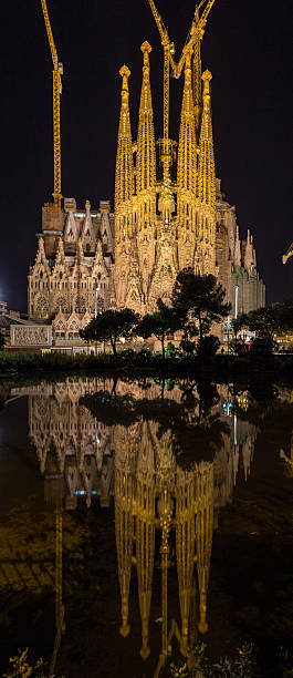Sagrada Familia cathedral, vertical panorama. Barcelona, Spain Sagrada Familia cathedral, vertical panorama. Barcelona, Spain 2013 stock pictures, royalty-free photos & images