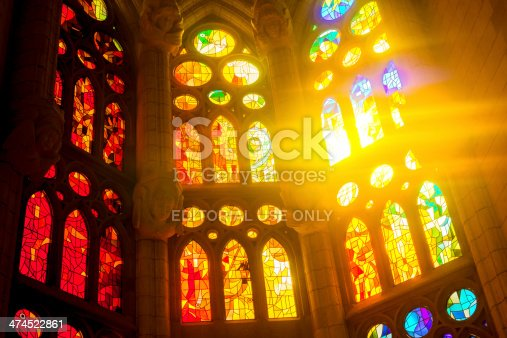 Stained glass window of the Sagrada Familia in Barcelona
