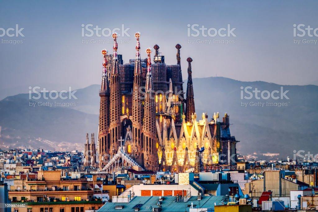 Sagrada familia in Barcelona at blue hour. Spain stock photo