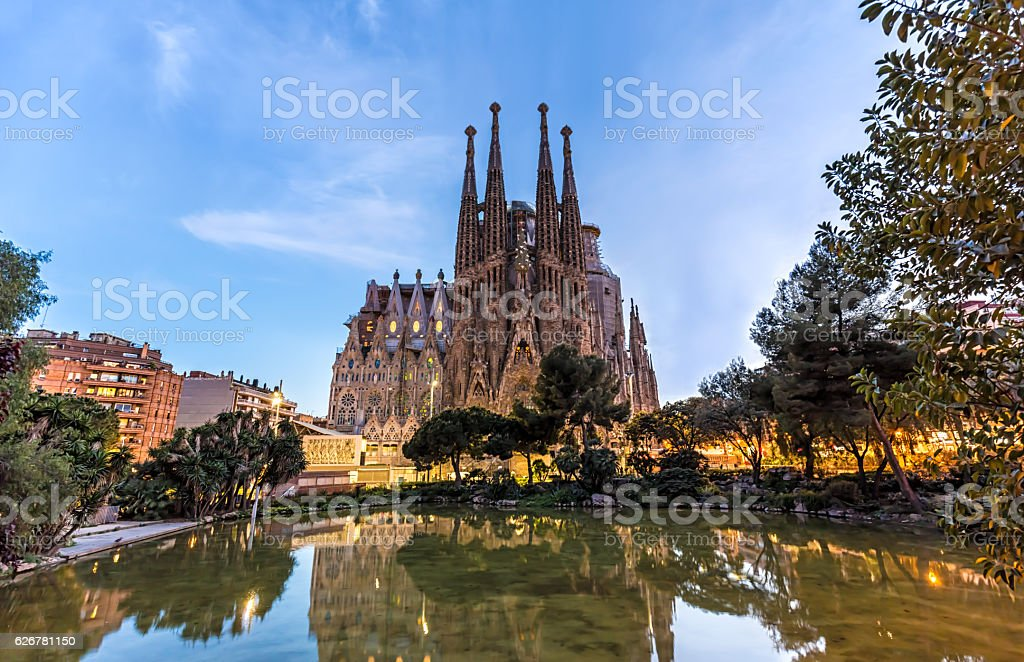 Sagrada Familia in Barcelona at sunset stock photo