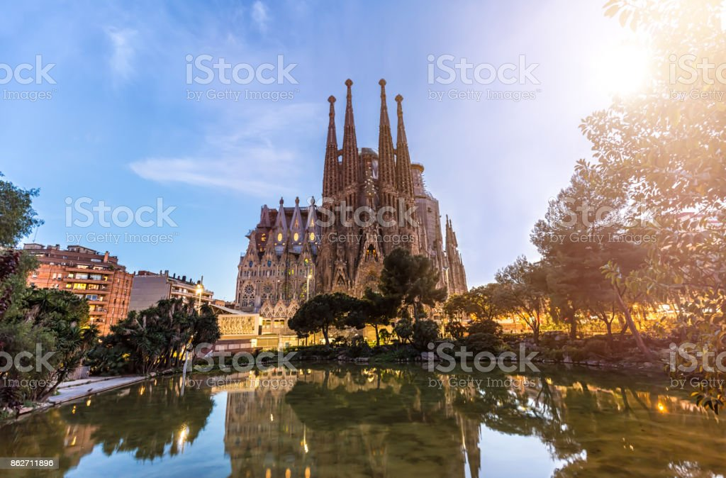 Sagrada Familia In Barcelona At Sunset Stock Photo Download Image Now Istock