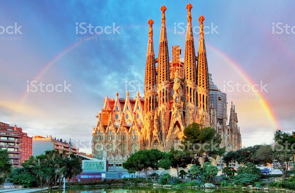 Sagrada Familia, in Barcelona, Spain stock photo