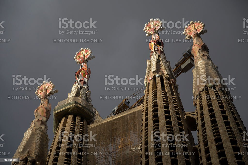 Sagrada Familia tower ornaments stock photo