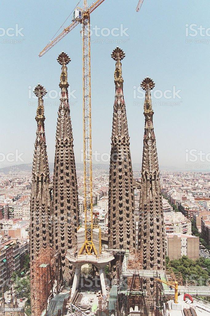 Sagrada Familia-en construcción foto de stock libre de derechos