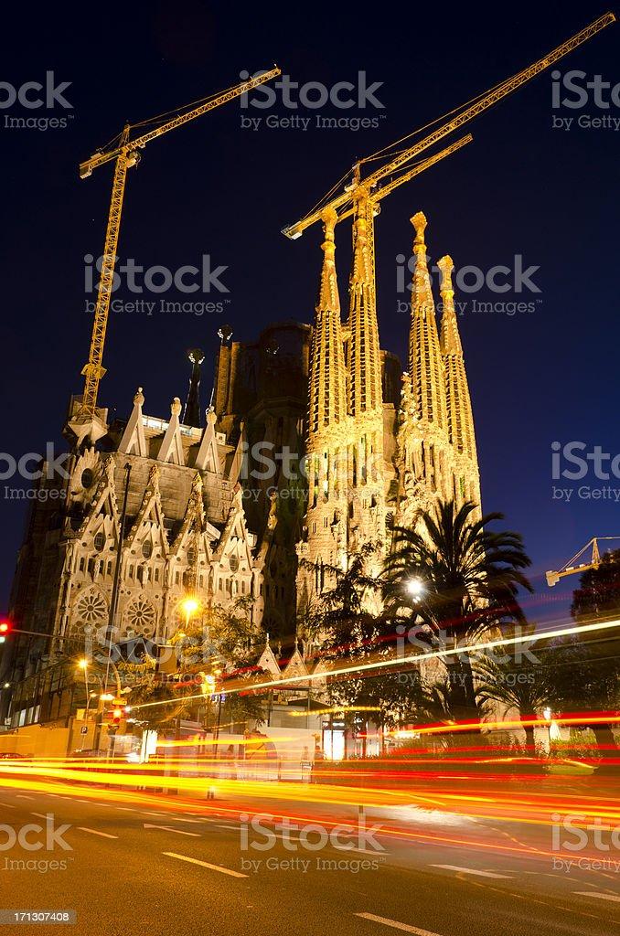 Sagrada Famlia cathedral Barcelona at night stock photo