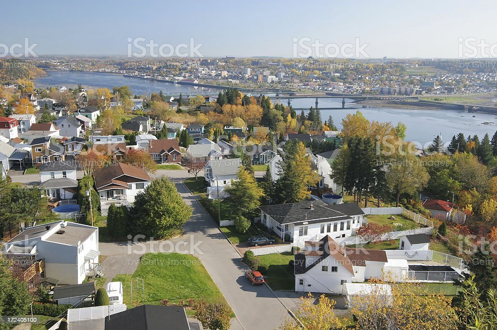 Saguenay city and river in Autumn stock photo