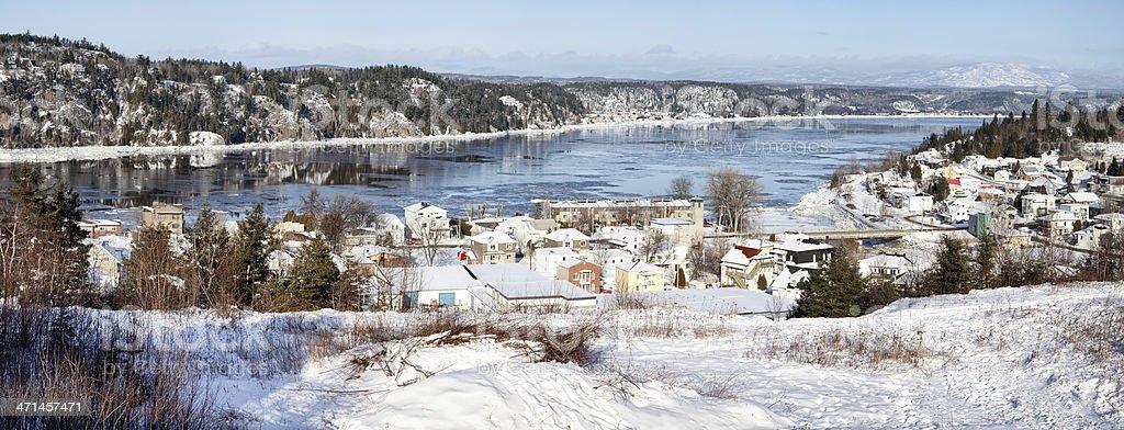Saguenay River panorama winter stock photo