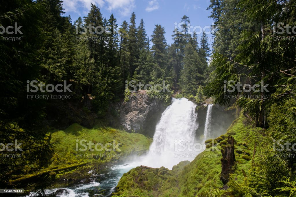 Sahalie Falls in Oregon with moss stock photo