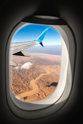 Sahara Desert And Red Sea Through The Airplane Window Stock Photo