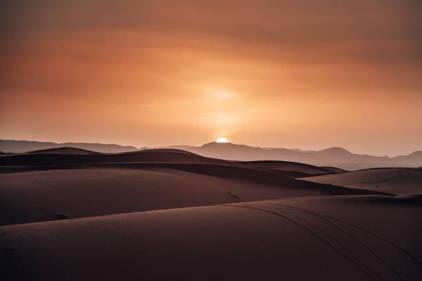 sahara desert at dusk stock photo