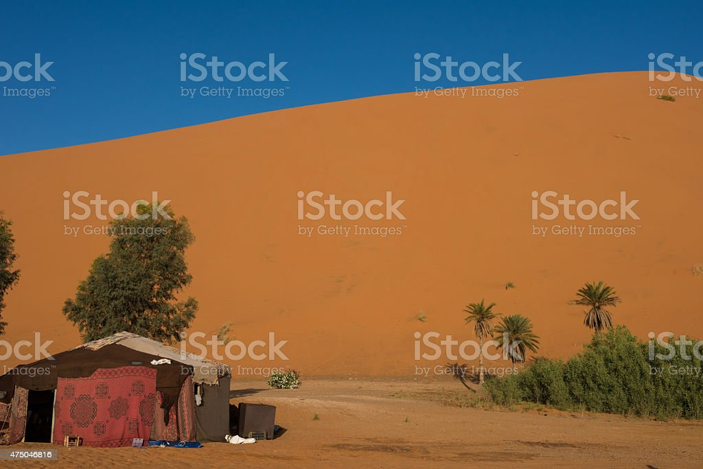 Sahara Desert camp for guided excursions stock photo